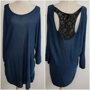 Torrid tunic sweater with built in lace racerback